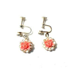 Jewelry - Vintage Pink Flower Clip-on Earrings Screw Post